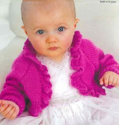 PDF Knitting Pattern for a Baby or Little Girls Ruffled Bolero To Fit to Chests Shrug Knitting Pattern, Chunky Knitting Patterns, Knit Shrug, Free Knitting, Knitting Needles, Baby Cardigan, Sweater Jacket, Baby Sweaters, Vintage Knitting
