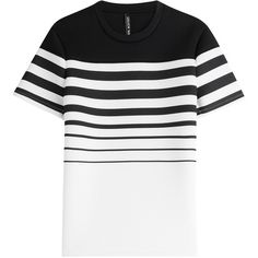 Neil Barrett Knitted T-Shirt (325,085 KRW) ❤ liked on Polyvore featuring men's fashion, men's clothing, men's shirts, men's t-shirts, stripes, mens black and white striped shirt, mens black and white shirt, mens striped t shirt, mens slim shirts and mens striped shirt