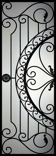 Wrought Iron Door Inserts - Regent Stocked by Randal's Wrought Iron & Stained Glass serving the Greater Toronto Area and surrounding areas. Steel Security Doors, Iron Windows, Wrought Iron Doors, Iron Furniture, Grill Design, Unique Doors, Iron Art, Diy Door, Door Design