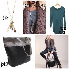 Beautiful Fall outfit by Just Jewelry Aqua long sleeve t shirt, vest, perfect tote black velvet and gray.