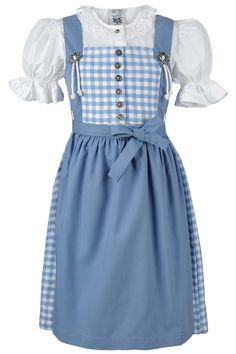 Kinderdirndl mit Bluse hellblau-weiß kariert von Isar-Trachten ~~ #Kinderdirndl mit Bluse und Schürze  Das hellblau-weiß karierte Kinderdirndl kann auch ohne Schürze getragen werden. Schon hat mein ein nettes Kinderkleid.  Die weiße Bluse wird vorne geknöpft und hat an den Ärmeln einen Gummizug. Die Bluse kann auch sehr gut zur Jeans getragen werden.