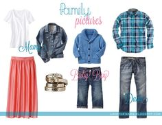 Family Picture Outfits for Spring. Love the coral and blue! Wish it had an outfit or a little girl instead.