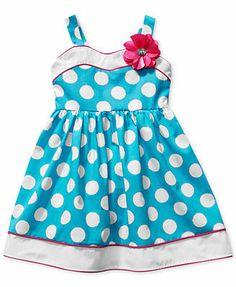 Sweetheart Rose Little Girls' Polka Dot Dress