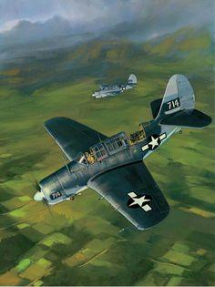 Curtiss SB2C Helldiver Bombing Banshees-VMSB 244 by Jack Fellows (