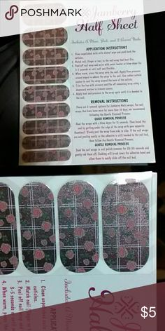 1/2 sheet Jamberry Nail wraps Heat these nail wraps on your finger nails and instantly beautiful nail that last up-to 10 days. The beauties won't damage you nails. jamberry Makeup