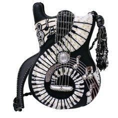 Mary Frances Jammin Guitar Piano Black White Bag Purse Handbag NEW Spring 2014 Mary Frances Purses, Mary Frances Handbags, Beaded Purses, Beaded Bags, Fashion Bags, Fashion Accessories, Novelty Bags, Novelty Handbags, Sacs Design