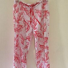 Victoria Secret Beach Pants Coverup Medium I absolutely love these cute pants! They have a fun coral pattern and ruffles around the bottom of the legs. They can be worn as a swim coverup or lounge pants. EUC Victoria's Secret Swim Coverups