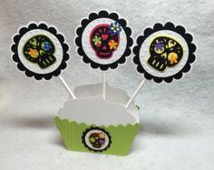 Day of the Dead Dia De Los Muertos Sugar Skull Cupcake Toppers