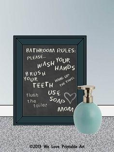 Bathroom Rules Chalkboard Sign #printable #kidsbathroom #bathroomideas