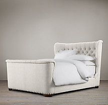 Churchill Fabric Sleigh Bed With Footboard
