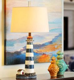 Lighthouse Table Lamp... http://www.completely-coastal.com/2016/10/lighthouse-lamps.html Lighthouse Decor for Lighthouse Lovers!