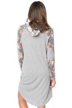 Gray Floral Long Sleeve Shift Hoodie Dress  dresses  hoodie Trendy Fall  Outfits 4b8e68ef2955