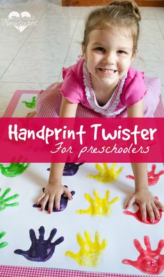 A fun way to teach your preschoolers colors -- handprint twister game! A craft and game in one, your preschooler is going to love learning and playing! #preschoolers #crafts #diy #bestgameever