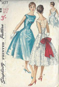 1956-Vintage-Schnittmuster-B34-Kleid-R977