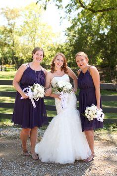 Bridesmaids in dresses Bridesmaids, Bridesmaid Dresses, Wedding Dresses, White Bouquets, Bridal Parties, Party Pictures, White Dress, Purple, Unique