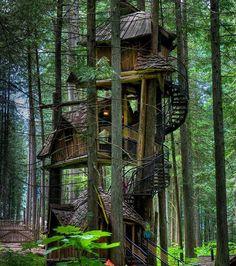 Une cabane dans les arbres de trois étages située au Canada