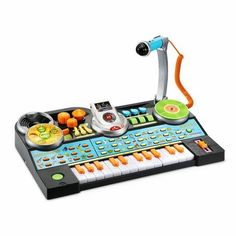 Toddler Musical Record And Learn KidiJamz Studio Keyboard with Mic Toy Playset Voice Effects, V Tech, Instrument Sounds, Music Station, Cool Gifts For Kids, Musical Toys, Music Mix, Toddler Toys, Educational Toys