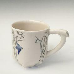 Bluebird Birch Mug 2 by josiegoestopot on Etsy