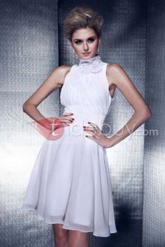 優雅なフラワー飾り Aライン ハイネック 膝丈 ブライズメイドドレス