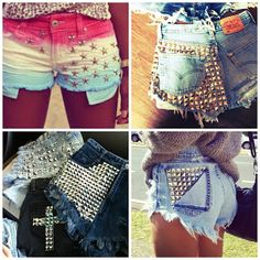 Near to Ones Heart: From Drab to Fab: DIY Studded, Bleached, and Frayed Jean Shorts!