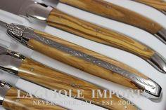 forge de laguiole 6pc steak knife set olive wood shiny finish