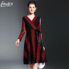 2017 Spring Newest V Neck Striped Women Elegant Dress Hollow Out Striped Lace Patchwork Female Long Sleeves Dress With Belt