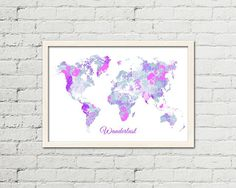 Flower World Map Wall Art Printable Map Instant Download