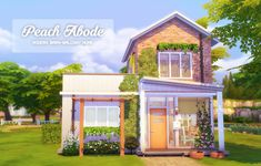 """Blonde Chaos' Finds gohliad: """" PEACH ABODE (REPOST W/ CC LIST) (I deleted the original post, so when people were going to """"read below the cut"""" link it wasn't giving them anything, sorry about that! Sims 4 House Plans, Sims 4 House Building, Building Games, Muebles Sims 4 Cc, Sims 4 House Design, The Sims 4 Lots, Casas The Sims 4, Sims Four, Sims 4 Build"""