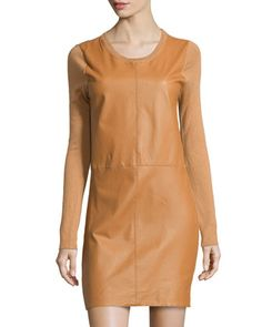 Cashmere-Blend Leather-Front Sweater Dress, Camel by Neiman Marcus at Neiman Marcus Last Call.