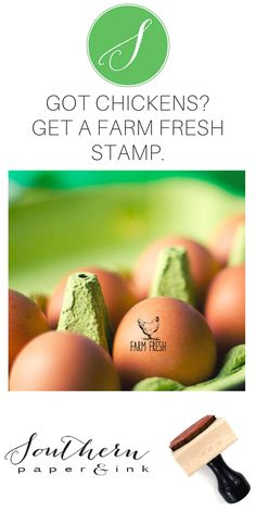 A Farm Fresh Chicken Egg stamp is a great way to personalize your backyard eggs from your own coop. There's a mini size just for your fresh eggs and larger customizable sizes for egg cartons, tags and labels. Rubber stamps can also say Fresh Eggs or Just Laid. Shop now at Southern Paper and Ink Custom Stamps.