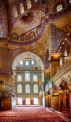 Interior of Sultan Ahmet Mosque also known as The Blue Mosque (1616), #Istanbul, Turkey - جامع السلطان أحمد (الجامع الازرق) #اسطنبول