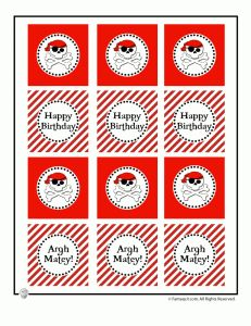 pirate party cupcake toppers 231x300 Cute Pirate Birthday Party Table Decorations to Print