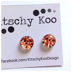Sprinkle Freckles Earrings  earring studs. by KitschyKooDesign