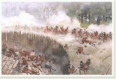 Representación del asedio a Fort Necessity. El 13 de Julio de 1754, George Washington rindió la plaza, dejando a los franceses el control del Valle del Ohio.