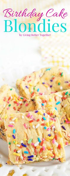 These Birthday Cake Blondies are made with an adapted yellow cake box mix and are so easy to make! They're sweet and fun and loaded with sprinkles!