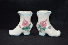 Vintage Hand Painted Shoe Salt and Pepper Set, Condiment Salt Pepper Shakers Fancy Boots, Ladies Shoes S&P, Rose Motif Painted Salt Shaker by FabulousVintageStore on Etsy