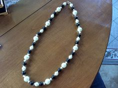Costume pearl and black necklace