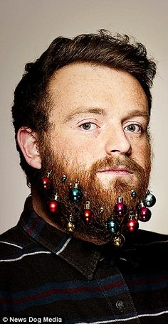 Who needs a Christmas tree when you can decorate your beard.
