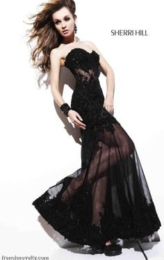 Sherri Hill Black Dress | Sherri Hill Sexy Black Lace Illusion Evening Prom Dress 2591 image