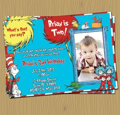 Cat in the Hat  Dr Seuss Birthday Invitation with by Juicyfruition, $12.00