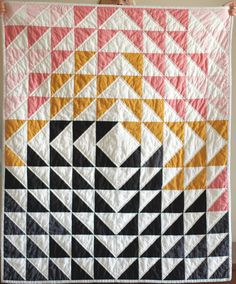 baby quilt pink and black