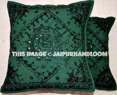 2pc Decorative Green Mirror Work Pillow,Throw Pillow, Accent PIllow, Ethnic Indian Floor Pillow, Toss Pillow, Outdoor Pillow, Sofa Pillow #indianpillows #sofapillow #couchpillows #embroideredpillows #handmadepillows #mirrorworkcushion #sofacushion #bedroomcushion