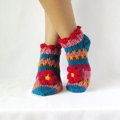 Booties Slippers for women  Handmade knitted multicolour slippers Wool slippers Hand knit booties New Year socks Christmas socks
