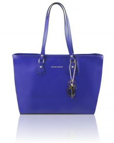 Borsa shopping TL SMART in pelle Saffiano con due manici Blu