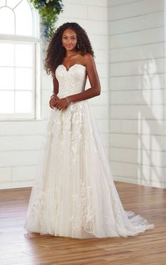 Strapless A-Line Wedding Gown with Organic Detail - Essense of Australia