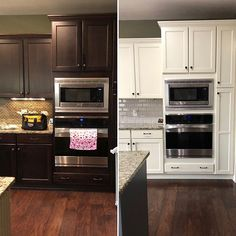 Sharing this beauty of a kitchen makeover that I completed this week! The beautiful soft warm white is Grant Teton White (Ben Moore). They added a new gray Rustic Country Kitchens, Country Kitchen Designs, Built In Cabinets, White Kitchen Cabinets, Bedroom Ideas For Couples Grey, Painting Oak Cabinets, Grey Backsplash, Reno, Trendy Bedroom