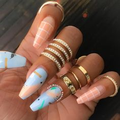 peach checkers & baby blue abstract art nailart @thenailistaproject #pastel nails / manicure / nail; using: @ninanailedit's July @goscratchit wraps and #flossgloss Pulp