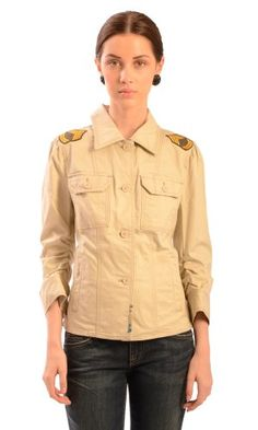Juicy Couture Women's Skyler Twill Military Jacket Khaki SM Sergeant stripe embroidery on shoulders.. Spread collar with buttoned opening down the front. Buttoned chest pockets and sealed waist pockets.. Three-quarter sleeves with zipper at cuffs and ruched stretch detailing in inner sleeve.. Tailored with double stitched seams.. Fabric: 97% Cotton, 3% Spandex..  #Juicy_Couture #Apparel