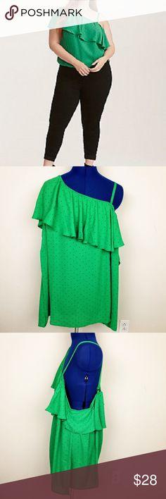 "Torrid Sleeveless Blouse Green Polkadot Size 2 MEASUREMENTS  Underarm to Underarm-  24""  length-  28""  No defects; smoke free torrid Tops Blouses"