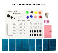 * USA Seller. We ship next business day from USA. 3-5 days delivery with tracking. * The Beauté Galleria Stamping Set Bundle includes 8 styles of stamping plates with synthetic vegan leather case, silicone nail mat, nail stamper and plate scraper – everything you need to create your own unique nail art. The set also comes with easy-to-follow stamping tutorial / tips card. 1.) Stamping Plates set:  • 8 styles of stamping plates: Lingo; Illusion; Animal; Explorer; Shape; Henna; Flower; Fes...